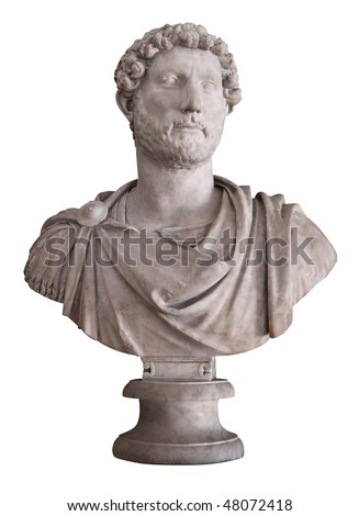 Ancient marble bust of the roman emperor Hadrian isolated on white with clipping path - stock photo
