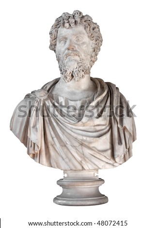 Ancient marble bust of the roman emperor Septimius Severus isolated on white with clipping path - stock photo