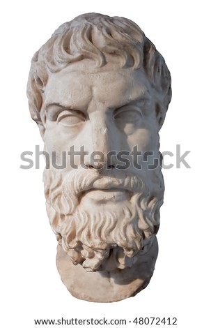 Ancient marble head of the greek philosopher Epikouros isolated on white with clipping path - stock photo