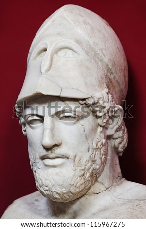 Ancient marble portrait bust of Greek statesman Pericles - stock photo