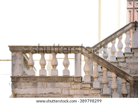 Ancient marble staircase of the seventeenth century. Church detail. - stock photo