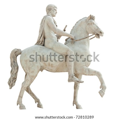 Ancient marble statue of a nude man holding a scroll and riding a horse isolated on white with clipping path