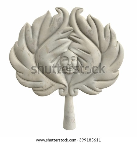 Ancient marble statue of Venus isolated on white. 3d illustration - stock photo