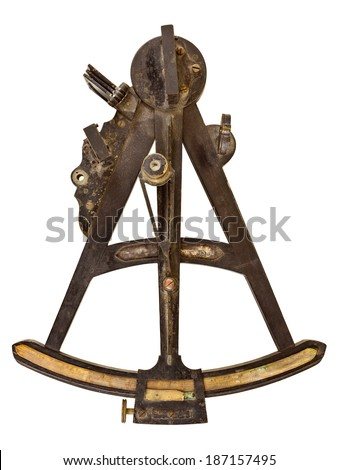 Ancient maritime sextant isolated on a white background - stock photo