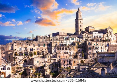 ancient Matera over sunset - Basilicata, Ita;y - stock photo