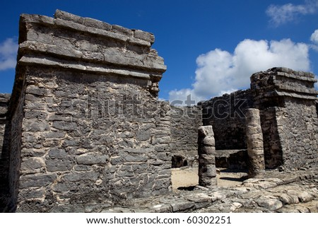 Ancient Maya city ruins of Tulum, Yucatan, Mexico - stock photo