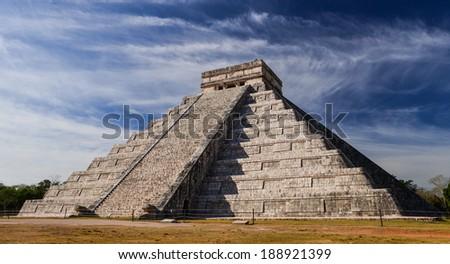 Ancient Maya pyramid El Castillo (Kukulkan) in Chichen Itza, Mexico - stock photo