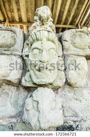 Ancient Maya Statue at Copan, Honduras - stock photo