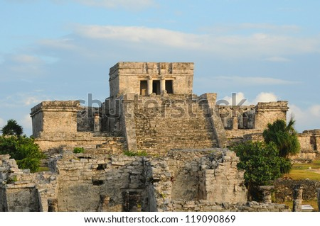 Ancient Mayan Architecture and Ceremonial Temple in Tulum, Mexico