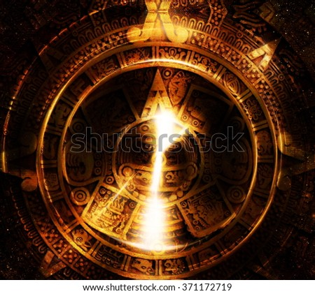 Ancient Mayan Calendar and light circle effect, abstract color Background, computer collage