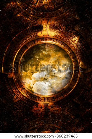 Ancient Mayan Calendar, Cosmic space and stars, abstract color Background, computer collage. Elements of this image furnished by NASA.