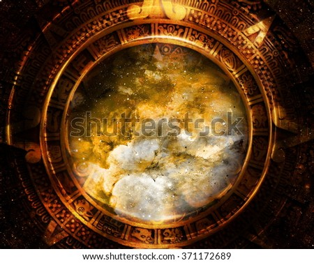 Ancient Mayan Calendar, Cosmic space and stars, abstract color Background, computer collage - stock photo