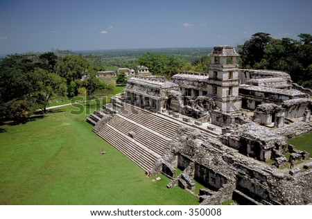Ancient Mayan city of Palenque, in the jungles of Chiapas, Mexico - stock photo