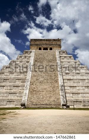 ancient Mayan civilization, great pyramid in Chichen Itza - stock photo