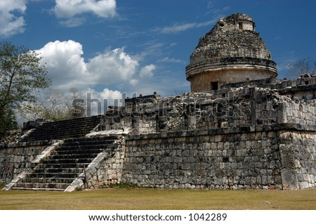 Ancient Mayan observatory in Chicnen Itza, Mexico