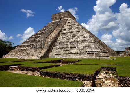 Ancient Mayan pyramid, Kukulcan Temple at Chichen Itza, Yucatan, Mexico - stock photo