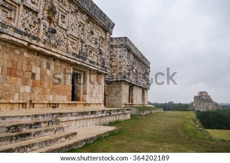 Ancient mayan pyramid. Uxmal, Merida, Yucatan, Mexico - stock photo