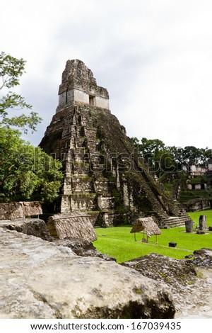 Ancient Mayan ruins in Tikal Guatemala November 2013 - stock photo