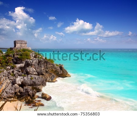 ancient Mayan ruins Tulum Caribbean turquoise sea direct high view - stock photo