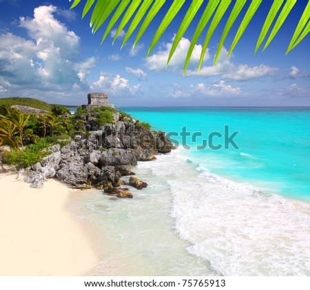 ancient Mayan ruins Tulum Caribbean turquoise sea direct high view [Photo Illustration] - stock photo