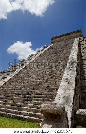 Ancient Mayan temple detail at Chichen Itza, Yucatan, Mexico - stock photo