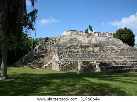 Ancient Mayan temple pyramid at the Kohunlich ruins in Mexico.
