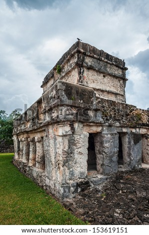 Ancient Mayan Tulum Ruins in Mexico, Temple of the Frescoes - stock photo