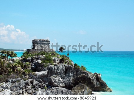 Ancient Mayan Watch Tower situated on a Rocky Point on the Coast - stock photo