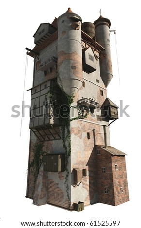 Ancient Mediaeval or fantasy wizard's tower built of brick with peeling white plaster, isolated version with bright sunlight, 3d digitally rendered illustration