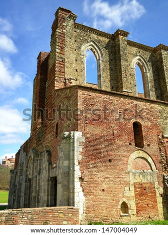 Ancient medieval architecture of Tuscany. - stock photo