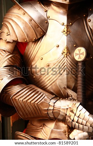 Ancient metal armor - iron detail. - stock photo