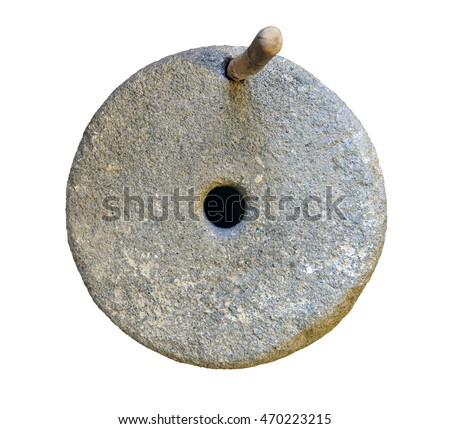 ancient mill stone isolated over white background