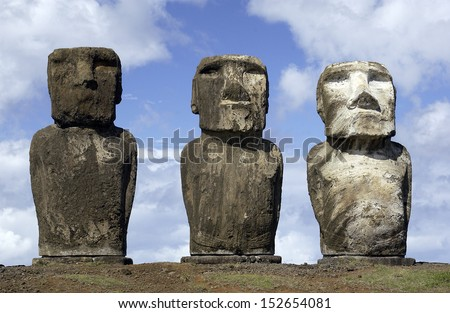 Ancient Moai on remote Easter Island in the South Pacific. Easter Island is now a part of Chile. - stock photo