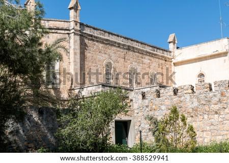 ancient monastery Jerusalem - stock photo