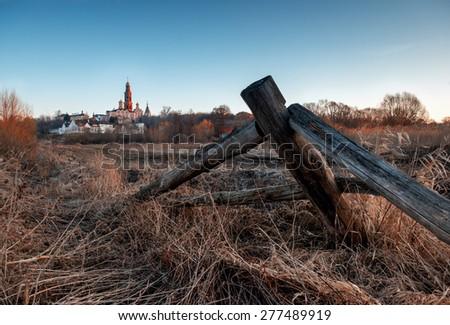 Ancient monastery near Ruazan town in Russia. - stock photo
