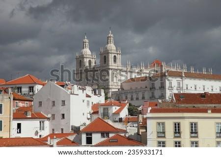 Ancient monastery of Sao Vicente de Fora in Lisbon (Portugal) - stock photo