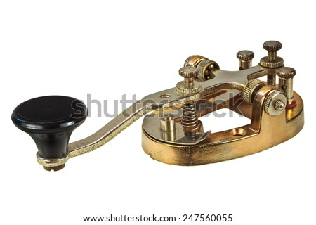 Ancient morse code telegraphy device isolated on a white background - stock photo