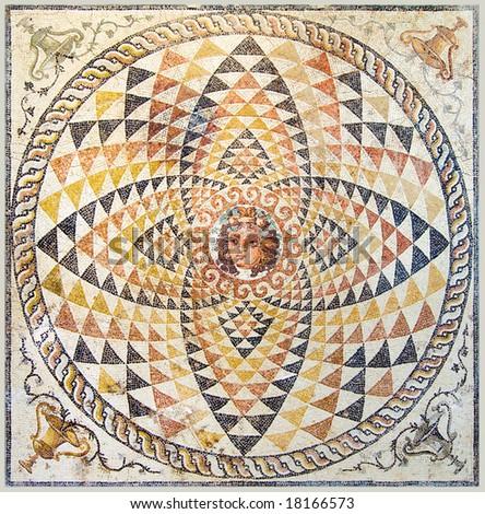 Ancient Mosaic at Apollo Temple, Corinth, Greece - stock photo
