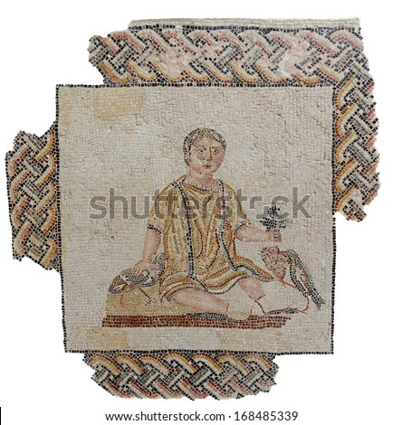 Ancient mosaic from a Roman funeral monument dating back to the the beginning of the 3rd century AD depicting a young boy.