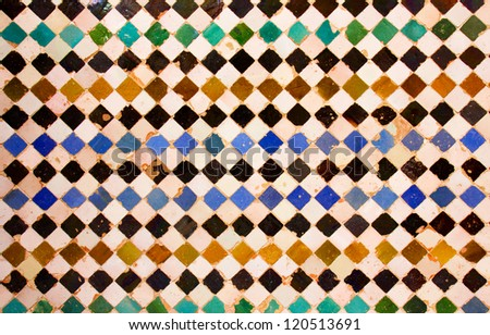 ancient mosaic pattern at the Alhambra,  Nazaries Palace, Granada, Spain - stock photo