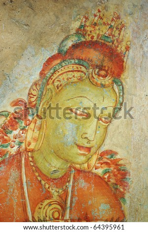 Ancient mural painting in Sigiriya rock monastery, Sri Lanka. Sigirya (Lion) rock monastery - Unesco world heritage site - stock photo