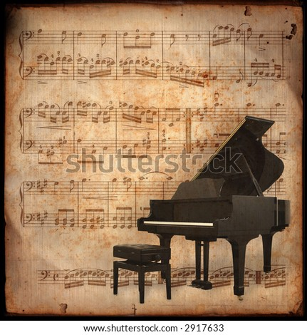 ancient music sheet, rusted old yellow paper with piano - stock photo