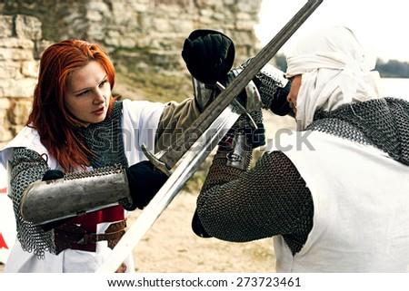 Ancient mystic knights battle - stock photo