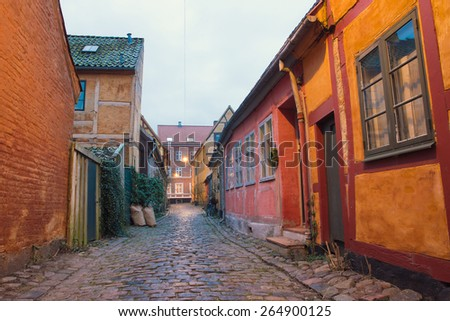 ancient narrow streets of the old town in Helsingor; - stock photo
