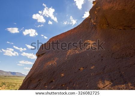 Ancient Native American Petroglyphs of bighorn sheep, Little Black Mountain Petroglyph site, Utah  - stock photo