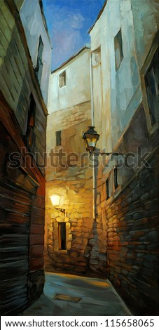 ancient night street in gothic quarter of barcelona,  illustration, painting - stock photo