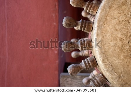 Ancient  northern Thai drums in Buddhist temple at Chiang Rai, Thailand - stock photo