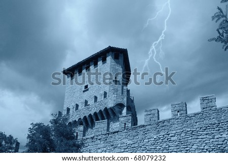 ancient observation tower of the castle - stock photo