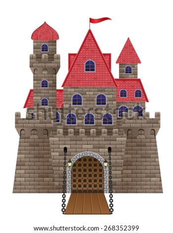 ancient old stone castle illustration isolated on white background - stock photo