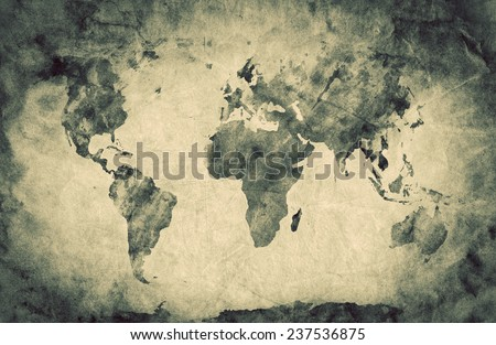 Ancient, old world map. Pencil sketch, grunge, vintage background texture. Sepia retro mood - stock photo